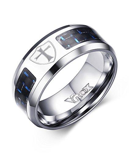 Vnox Uomo in acciaio inox Blue Carbon Fibre scudo della fede fascia della traversa anello nero,Larghezza 8 millimetri