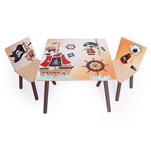 Homestyle4u 1117 Kindersitzgruppe Pirat , Kindermöbel Set aus 1 Kindertisch und 2 Stühle , Holz Braun Beige