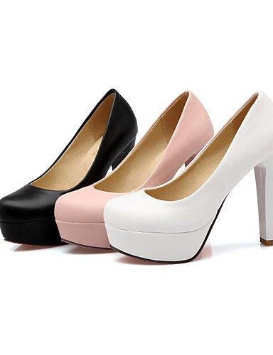 WSS 2016 Chaussures Femme-Bureau & Travail / Décontracté-Noir / Rose / Blanc-Gros Talon-Talons / Bout Arrondi-Talons-Polyuréthane black-us6 / eu36 / uk4 / cn36