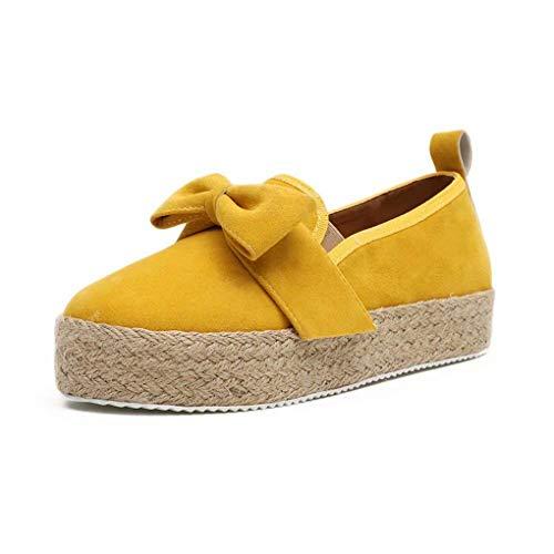 Slippers Espadrilles Damen Low Top Frauen Plateau 4.8cm Leicht Bequem Segeltuch Elegant Flache Schuhe Streifen Gleb 39 (Gold Espadrille)