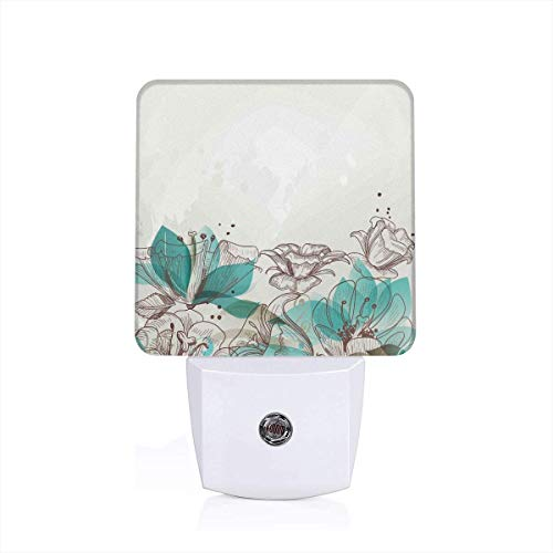 Retro Floral Background With Hibiscus Silhouettes Dramatic Romantic Nature Art Plug-in LED Night Light Lamp with Dusk to Dawn Sensor, Night Home Decor Bed Lamp Hibiscus Night Light