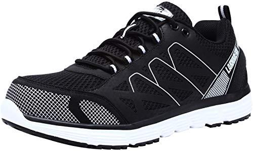 LARNMERN Scarpe Antinfortunistica Uomo Estive, Leggero SRC Anti Statico Anti Puntura Scarpe Lavoro S1P Sneaker, L8055 (40 EU, Nero)