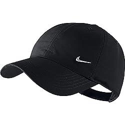 Nike Ya Heritage 86 Swoosh AD - Gorra de tenis unisex para joven, color negro / plateado