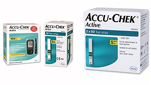 Accu Chek Active Blood Glucose Meter Kit (Multicolor)( Vial of 10 strips free)+ Accu Chek Active Strips, Pack of 100 COMBO  available at amazon for Rs.2900
