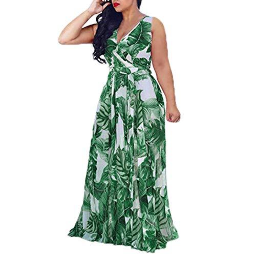MERICAL Plus-Size Femmes col en V sans Manches Casual Ceinture bohème Split Robe Longue