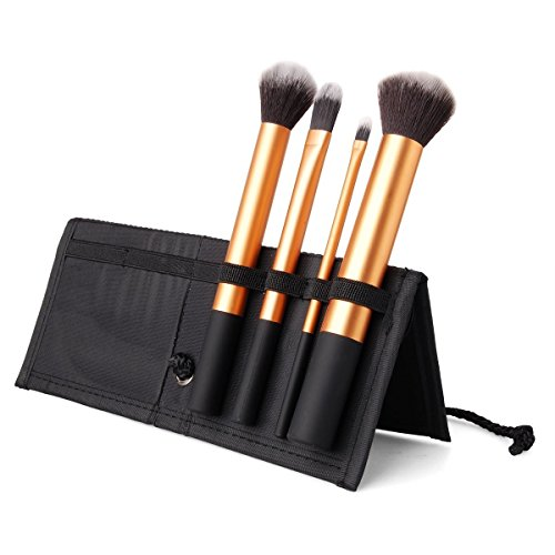 Ensemble De 4 Brosses Maquillage - Cheveux Synthétiques, Poignée En Aluminium, Étui En Tissu - Noir by CASCACAVELLE