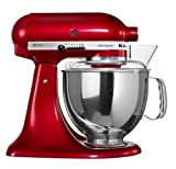 KitchenAid-Artisan-Design-5KSM150PSDCA-10-Speed-4.8-Litre-(5Qt)-300-Watt-Tilt-Head-Stand-Mixer-with-Flat-Beater,-Dough-Hook,-Whisk,-Stainless-Steel-Bowl-&-Pouring-Shield-(Candy-Apple)