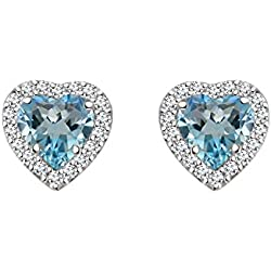 Silver Dew CZ Diamond Rhodium Plated On Pure 925 Sterling Silver Blue Topaz Halo Heart Women Girls Earring