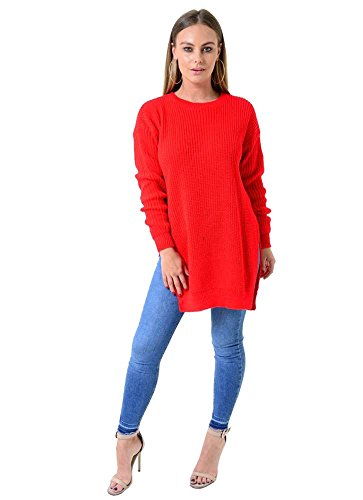 Generic - Pull - Pull - Col Ras Du Cou - Manches Longues - Femme * red