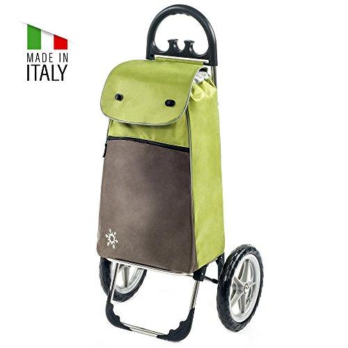 Moderner Einkaufstrolley Esana in grün mit 55L & Kühlfach - Transport-Wagen Trolley mit großen Rädern - Einkaufsroller bis 30kg belastbar - Gewicht nur 2.45kg