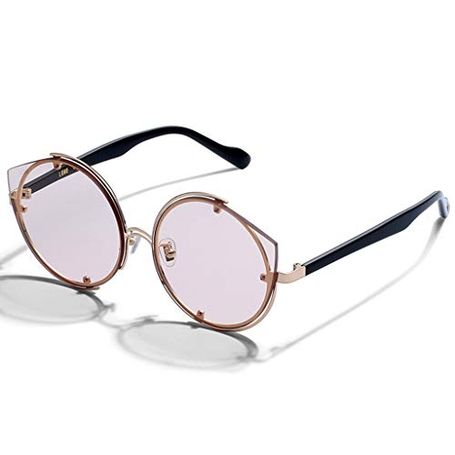 SUNGLASSES Trendy Sonnenbrillen für Frauen Zubehör Fall UV400 Schutz Metallrahmen Ideal für das Fahren oder Stadtgehen (Farbe : B)