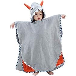 COOKY.D Serviette de Bain de Plage Nage à Capuchon pour Enfants 100% Doux Coton Poncho Changement Robe pour Filles Garçons 0-6 Ans, 70X70cm, Gris