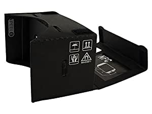 Visore di realtà virtuale Google Cardboard lunghezza focale 45 mm - versione in plastica nera con Tag NFC gratuito e fascia per la testa
