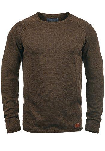 BLEND Dan Herren Strickpullover Feinstrick Pullover Mit Rundhals Und Melierung, Größe:L, Farbe:Coffee Brown (71507)