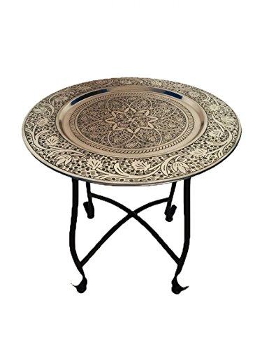 Marokkanischer Tisch Beistelltisch aus Metall Sule ø 40cm rund | Orientalischer runder Teetisch klein mit klappbaren Gestell in Schwarz | Das Tablett diese Klapptische ist orientalisch in Silber