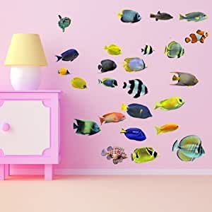 wsd201 - poisson grand jeu de sticker mural amovible marine. Stickers muraux amovibles animaux photoréalistes