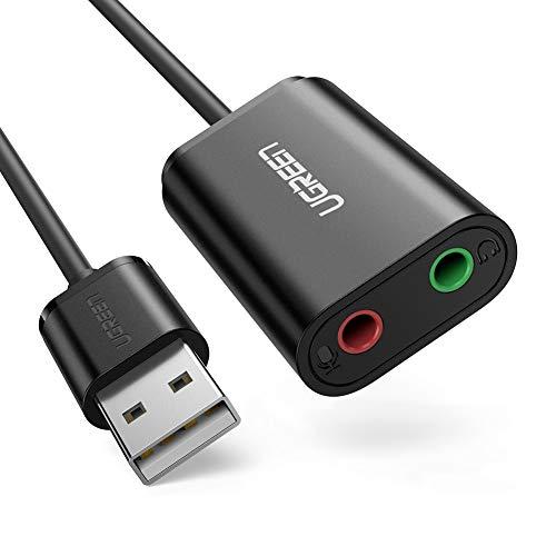 UGREEN Externe USB Soundkarte für Computer, PS4 usw.(Schwarz)