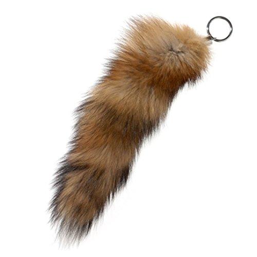 Modassori Schlüsselanhänger Taschenanhänger Echtfell Fuchsschwanz ungefärbt, Rotfuchs, Befestigung Chromring