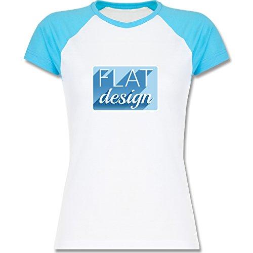Nerds & Geeks - Flat design - zweifarbiges Baseballshirt / Raglan T-Shirt für Damen Weiß/Türkis