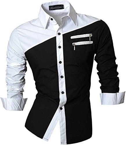 jeansian Herren Slim Fit Lang Ärmel Casual Button-Down Kleid Shirts 8397, Farbe schwarz/weiss, Size M