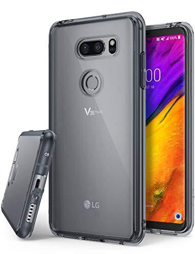 Ringke LG V35 ThinQ Hülle, [Fusion] Transparent Panzer PC Rückseite Handyhülle Cover [Verbesserter Schutz der Ecken] Leichte TPU Stoßfänger Schwarz Schutzhülle für LG V 35 ThinQ 2018 - Smoke Black