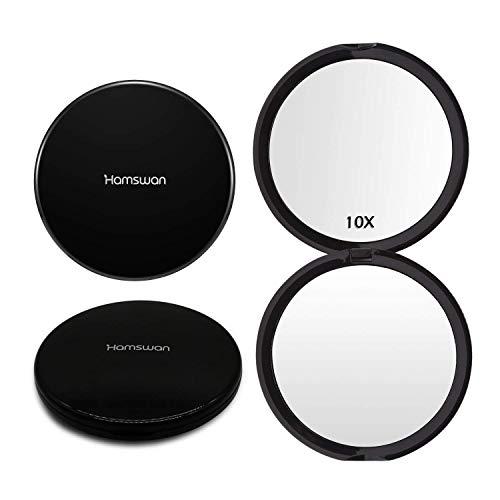 Espejo de Bolsillo, [Regalos Originales] HAMSWAN Espejo Portátil de Maquillaje Con Aumentos 10X, Espejo...