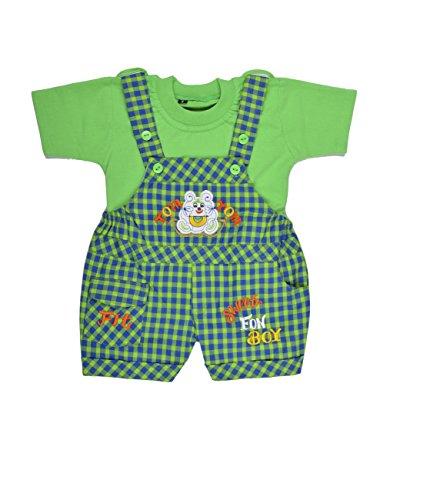 Kuchipoo Baby Boys Dungaree Set (KUC-DUN-125, Green, 0-6 Months)