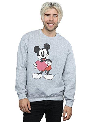 Disney Herren Mickey Mouse Valentine Heart Sweatshirt XXX-Large Sport Grey