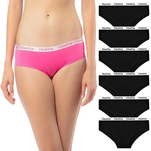 Libella 6er Pack Damen Hipster Slip Damenslip Unterwäsche 3411 schwarz S