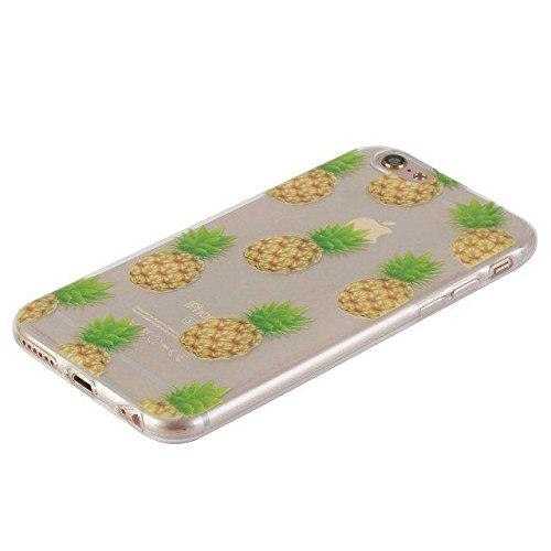 Etsue Custodia iPhone 6 Trasparente,Colorate Dipinto Modello Con Disegni,iPhone 6S Cover in Silicone Tpu Flessible Sottile Antiscivolo e Antigraffio Protettivo Cover Bumper Case Per iPhone 6/6S 4.7+Bl Ananas