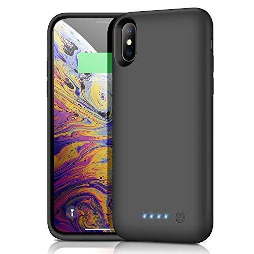 Kilponen Akku Hülle für iPhone X/XS, [6500 mAh] Zusatzakku Externe Handyhülle Akku hülle für iPhone X/XS Schutzhülle Wiederaufladen Power Bank, Schwarz[5,8 Zoll]