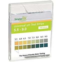 Simplex Health acqua PH Strisce Test 5.5 - 9.0 GAMMA& DUE Imbottitura universale per ACIDO Alcalina Acqua test (100 STRISCE)
