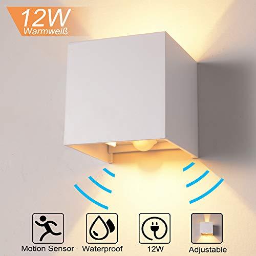 QYHOME 12W Wandleuchte Bewegungsmelder Aussen/Innen LED Wandbeleuchtung, Warmweiß Wasserdicht Verstellbare Walllampe, LED Wandleuchte Sensor für Garten/Flur/Weg (Weiß) -