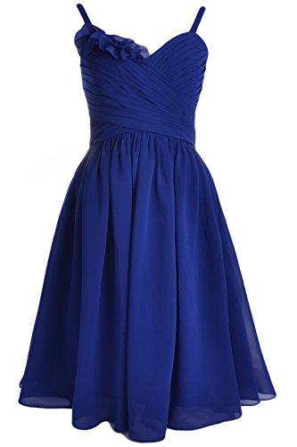 MACloth Spaghetti Straps Short Bridesmaid Dress Wedding Party Formal Gown Royal Blue
