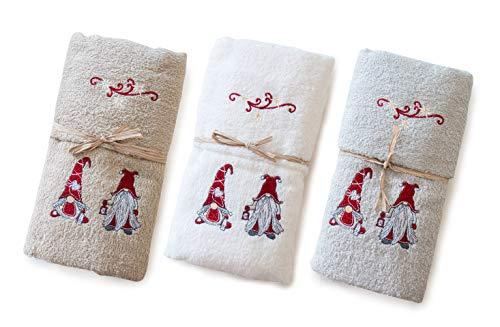 GoldenHome Set Asciugamani OSPITE + SALVIETTA Motivo GNOMI Natalizio - Idea Regalo Natale - Spugna 400GSM (Bianco)