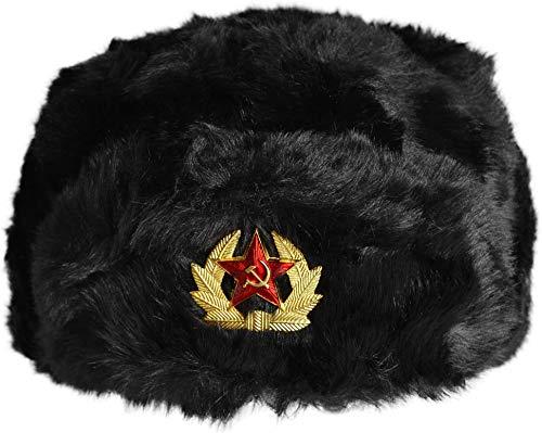 normani Russenmütze Tschapka mit Kokarde Stern Farbe Schwarz mit Kokarde Größe L