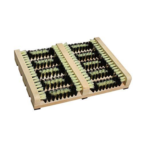 Lantelme Fussabtreter mit Seitenleisten und kräftigen Kunststoff Borsten Holz Schuhabtreter Outdoor Schuhputzer 3241