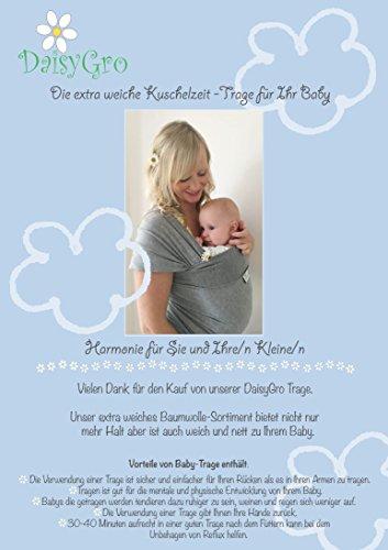 •NEUE DEUTSCHE VERÖFFENTLICHUNG!• DaisyGro™ Premium Baby Tragetuch | 2 GRÖSSEN OPTIONEN | Baby Wickeltuch | Neugeborene, Säuglinge, Kleinkinder | Still-Abdeckung | atmungsfähige weiche Baumwolle | grau | Ideales Geschenk - 3