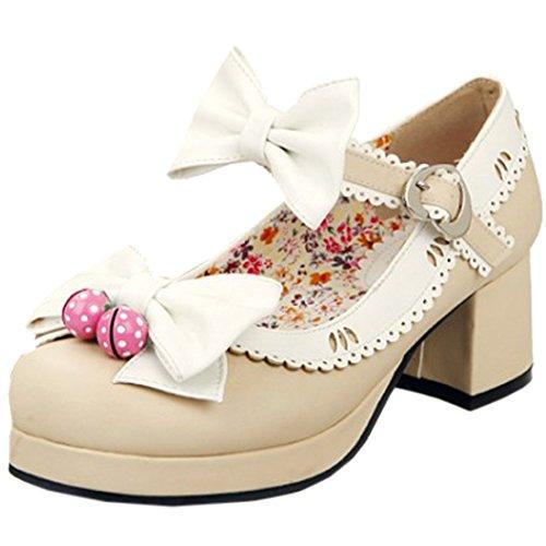 Partiss Damen Gothic Lolita Wedge Shoes Japanisch High-top Casual Lolita Pumps Herbst Fruehling Hochzeit Tanzenball Maskerade Cosplay Diestmaedchen Bowknots Platform Pumps Lolita Schuhen Beige