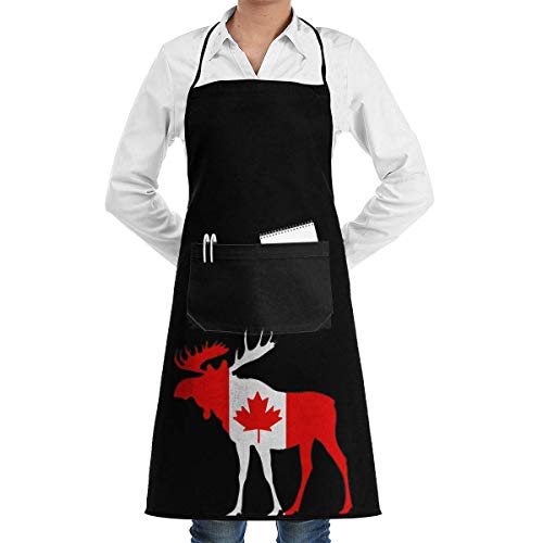 Cooking Apron Moose and Canadian Flag Menâ€s Womenâ€s Unisex Chef Kitchen Long Aprons Sleeveless Overalls Portable with Pocket for Cooking,Baking,Crafting,Gardening,BBQ