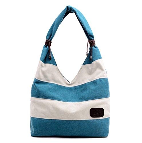 Wealsex damen umhängetasche Canvas Streifen shopper Taschen 32/40/14.5cm Blau