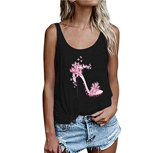 Geilisungren Tank Tops Damen Mode High Heels Pumps Drucken Bluse Große Größen Oberteil Frauen Sommer Casual Rundhalsausschnitt Ärmellos Lose T Shirt Vest