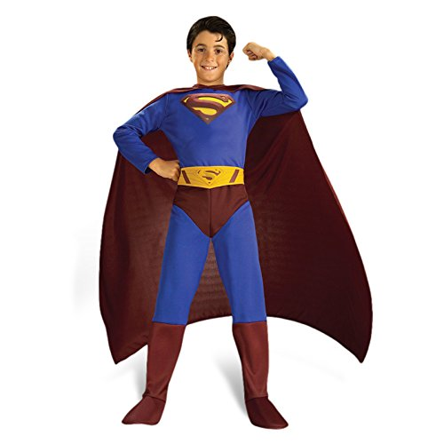 Superman - Günstiges Movie Kostüm für Kinder, 3-teilig, DC Comics Faschingskostüm - L