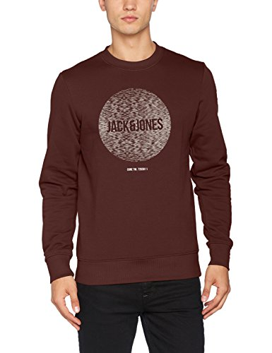 JACK & JONES Herren JCOBAK Sweat Crew Neck WHS Sweatshirt, Braun (Fudge Fit:Reg), Small -