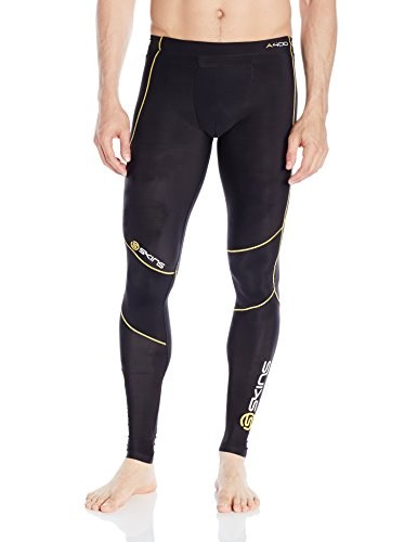 SKINS A400 Mens Long Tights Black/Yellow Logo Line