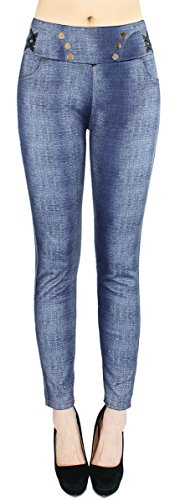 Jeggings Damen Leggings Treggings Stoffhose Jeans Optik Hose Damen mit Taschen Gr. 38-40 - DH163 (38/40 - M/L, DH163-DunkelBlau)