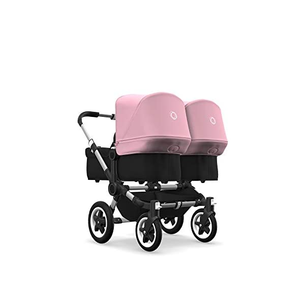 Bugaboo Donkey 2 Twin, 2 in 1 Double Pram and Double Pushchair for Twins, Black/Soft Pink Bugaboo Perfect for two children of the same age Use as a double pushchair or convert it back into a single (mono) in a few simple clicks You only need one hand to push, steer and turn 1