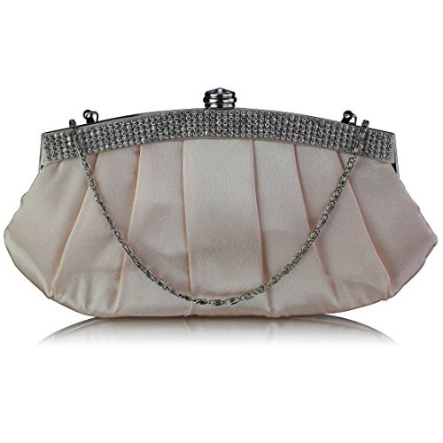 TrendStar Damen Entwerfer Satin Kupplungs Tasche Abschlussball Partei Abend Kupplungs Tasche Champagner