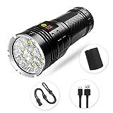 Semlos Wiederaufladbare LED Taschenlampe, Superhelle Camping Taschenlampe, Power Display und Isolationsschutz, 4 Modi für die Innen und Außenbeleuchtung