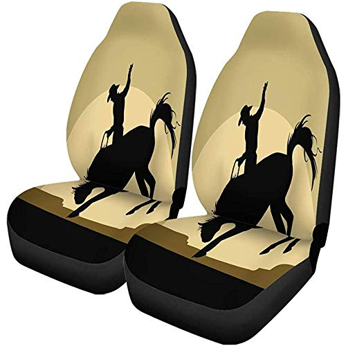 Olive Croft 2PCS Autositzbezüge Rodeo Silhouette des Cowboys reitet Wildpferd Texas Western Universal Protector Passt für Auto, SUV Limousine, LKW